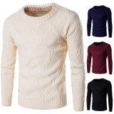 Mens de cor sólida ao redor do pescoço suéter de lã grosso