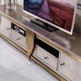 Стойка TV стальной рамки Rose верхней части 10 самая популярная золотистая с ящиками