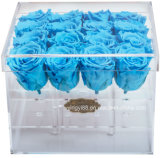 Resistente al agua personalizadas de flores de plástico acrílico transparente Rosa joyas Zapata Chocolate golosinas de la boda del Cigarro del Cuadro de Honor