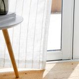 자카드 직물 거실 줄무늬 보일 가짜 리넨 투명한 커튼을%s 백색 Tulle 커튼