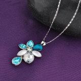 زهرة مدلّاة زرقاء بلّوريّة [غلد بلتينغ] سلسلة نمو مجوهرات عقد