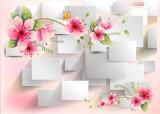 3D rosafarbene Rose und weißes Quadrat-Form für Hauptdekoration-Ölgemälde