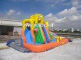 Diapositiva de agua inflable con la piscina