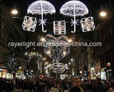 休日の雪片の装飾ライトを祝うLEDのモチーフXmasの通り