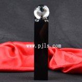 Diamante di cristallo di vetro sul premio nero del trofeo della colonna