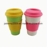 tasse de café en bambou de fibre de 14oz 400ml avec le couvercle et la chemise de silicones