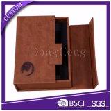 Puerta abierta de diseño de alta calidad de logotipo de cuero caja de regalo de vino Set