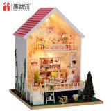Casa de madeira diminuta encantadora cor-de-rosa do brinquedo DIY