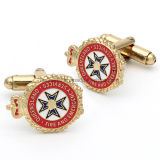 Atacado Custom Crown Design Men's Gold Metal Cufflinks