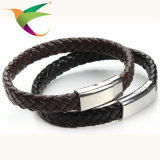 Stlb-17011012 Cuero de moda clásica con pulseras de alambre de acero inoxidable