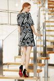 Коротким платье зимы втулки напечатанное обручем миниое