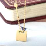 새로운 형식 보석 스테인리스 사각 금에 의하여 도금되는 다이아몬드 목걸이
