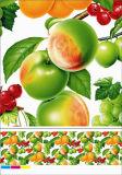 野菜およびフルーツデザインのNonwoven裏付けPVCテーブルクロス