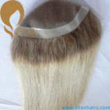 Toupee di colore di Ombre per le donne mono con l'unità di elaborazione intorno alla parte dei capelli