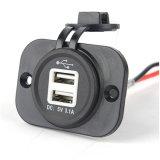 Dual USB Power Charger Socket Outlet com voltímetro para celular