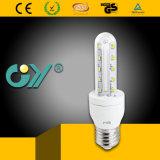 Luz del maíz del T3 3u 9W E27 3000k-6000k LED de la dimensión de una variable de U (CE RoHS)