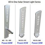 2017 nuevo todos en una lámpara del panel solar al aire libre de la iluminación de la energía solar de los sensores de movimiento de la luz de calle del LED IP65