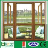 Hölzernes Korn-Aluminiumflügelfenster Windows mit Cer-Bescheinigung Pnoc0090cmw