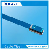 Fascette ferma-cavo rivestite dell'acciaio inossidabile della Auto-Serratura del PVC del campione libero 7.9X550mm
