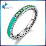 Эмаль орхидеи сердец стерлингового серебра зеленого цвета 925 излучающие & кольцо перста кристаллов Cerise
