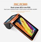 Zkc PC900 3GはアンドロイドすべてプリンターNFC読取装置が付いている1台のタッチ画面移動式POSターミナルのスクリーンの二倍になる
