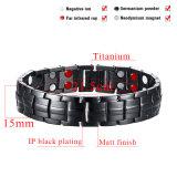 Black Gun Plated Titanium Bracelets for Man with Double Row