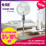 Grauer elektronischer Standplatz-Ventilator mit 3 Schaufeln