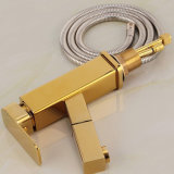 Flg Pull Out Function Bathroom Basin Faucet Gold Painting