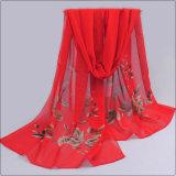 Praia da mulher Voile Soft muito belas flores impresso lenço xale da cintagem por rede (SW108)
