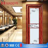 Porta de madeira do banheiro da grão da manufatura de China com grade decorativa