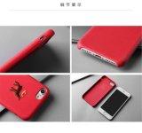 cas protecteur en cuir d'iPhone d'unité centrale de configuration animale de la broderie 3D