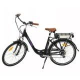 En15194 250W 도시 여자 전기 페달 자전거 발광 다이오드 표시 전기 자전거 리튬 건전지 Ebike v 브레이크