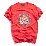 Personnaliser le T-shirt de l'homme de broderie de type chinois de coton de qualité du collet rond
