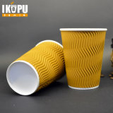 Tazza di caffè di carta calda stampata disegno su ordinazione ondulato a gettare della parete dell'ondulazione di marchio