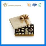 Boîte de empaquetage à chocolat de papier de fantaisie rigide de luxe dur fabriqué à la main (avec les noeuds en soie de guindineau de bande)