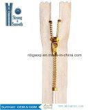 Chiusura lampo in lega di zinco per gli indumenti, chiusura lampo del metallo di colore dell'oro del metallo per i sacchetti