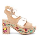 نساء [لس-وب] [هولّوو-ووت] [سود] جلد [هي هيل] تطريز من أحذية