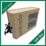 Steifer Papiergeschenk-Kasten mit Farbband und Belüftung-Fenster