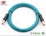 Varón impermeable al cable del conector de la hembra M12 8pin LED