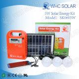 Sk0605Wの3つのLEDの球根が付いているキャンプの太陽電池パネルの料金DC太陽キット