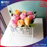 Caixa acrílica personalizada desobstruída por atacado da flor para o casamento