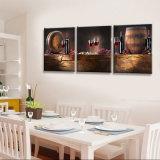 3 Afgedrukte het Schilderen van de Muur van het stuk het Moderne Kunst het Schilderen van de Rode Wijn Beeld van de Kunst van de Zaal Decor Frame die op Decoratie mc-247 wordt geschilderd van het Huis van het Canvas