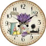 Decoración Vintage Arreglo del Jardín de lavanda de antigüedades de madera MDF de diseño de reloj de pared de la etiqueta de papel de impresión