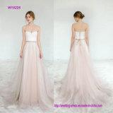 Trägerloses Chiffon- eine Zeile Hochzeits-Kleid