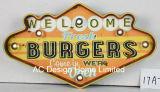 """Decoração Vintage Antique Emboss """"vindas hambúrgueres fresco entram em Estamos abertos Design da estrutura de metal e plástico Decoração de parede W/Luz de LED"""