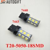 Coche-Labrando los bulbos autos T20 5050 18 bulbos reversos de SMD LED