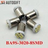 Lampadine automatiche bianche eccellenti 8LEDs 1206 indicatore luminoso interno del portello di automobile di 3020 Ba9s LED