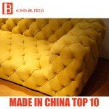 Mobilia stabilita di stile di colore giallo di colore del sofà di lusso italiano di Nubuck per la stanza della regolazione