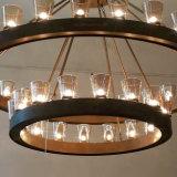 Lampadario a bracci di vetro moderno LED che illumina lampada Pendant con metallo Rod Bronze spazzolato