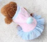 帽子が付いている王女様式のPink&Blueの冬ペットコート犬の服
